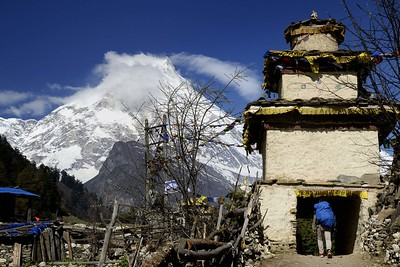 Manaslu and the kani ( entrance gate) at Lho village