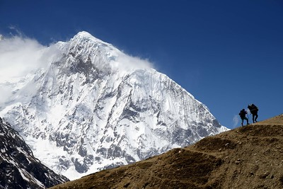 The huge bulk of Samdo peak walking from Samdo to Dharamsala