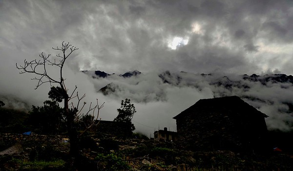 The harbinger of the monsoon rains - dawn at Philim 1400 metres before the valley of Tsum