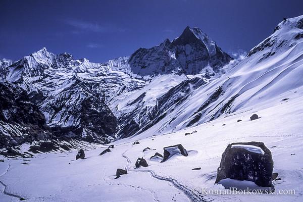 Machapuchare (Fish Tail Mountain), view from Annapurna Base Camp, Himalayas, Nepal