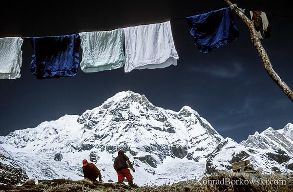Drying laundry at Annapurna Base Camp, Himalayas, Nepal
