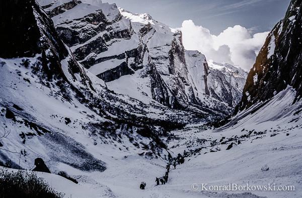 Gurkha porters on the way to Annapurna Base Camp, Himalayas, Nepal