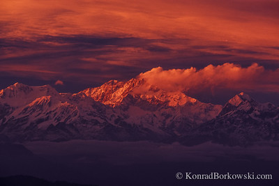 Kanchenjunga at sunset, view from Darjeeling, Himalayas, India