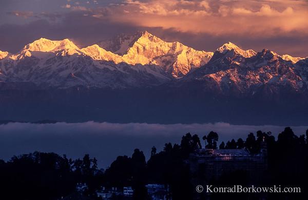 Kanchenjunga at sunrise, view from Darjeeling,  Himalayas, India