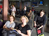 Jocelyn, Mary and Sande awaiting flight to Lukla.