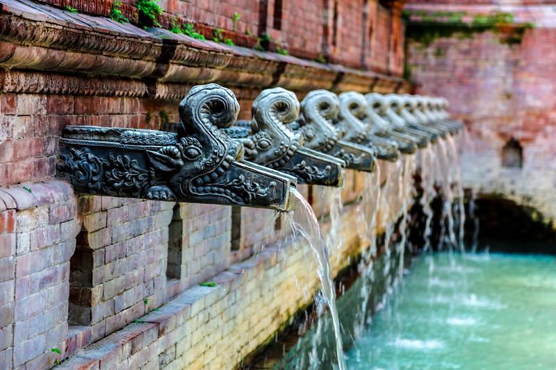 Fountains in Dwarika's Hotel, Kathmandu