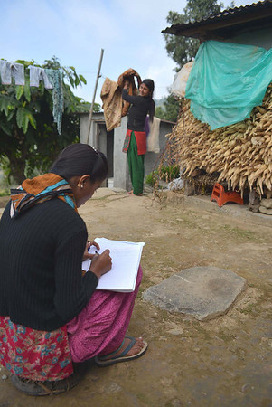 My assistant Radha Timilsina helping to profile one of the  Timilsina family homestays which are one of 50 we will work on in the Kaski district over the next weeks.