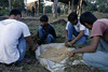 Here boys are taking leaves and rolling/filling them with grains for the Elephants.
