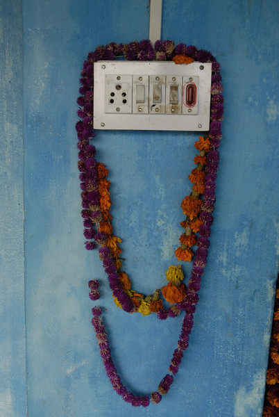 I bless Dhiren's home with a few of the garlands presented to me.