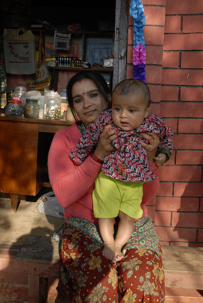 Pratima and her son. He father is one of the teachers at Dip Joti.