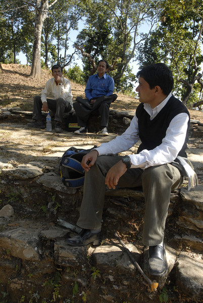 Resting at a Chitori, Suroj in front w/ Sahadev and Kidar in the background.