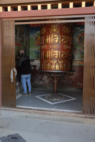 There are several very large prayer wheels at the monastaries.