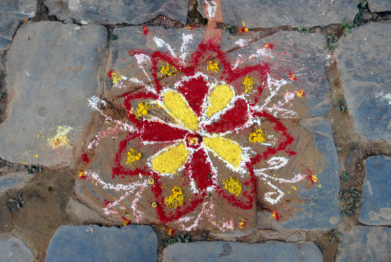 THis photo and the next 4 are of Mandalas and other blessings constructed at the doorways of homes during Tihar.