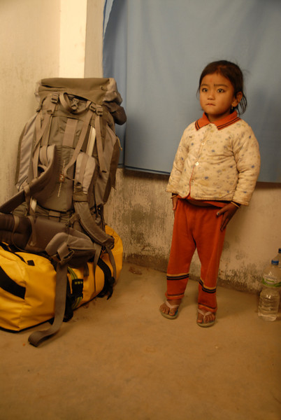 Sahadev was taking this young child's photo for her mother in his studio. I also stored my gear there.
