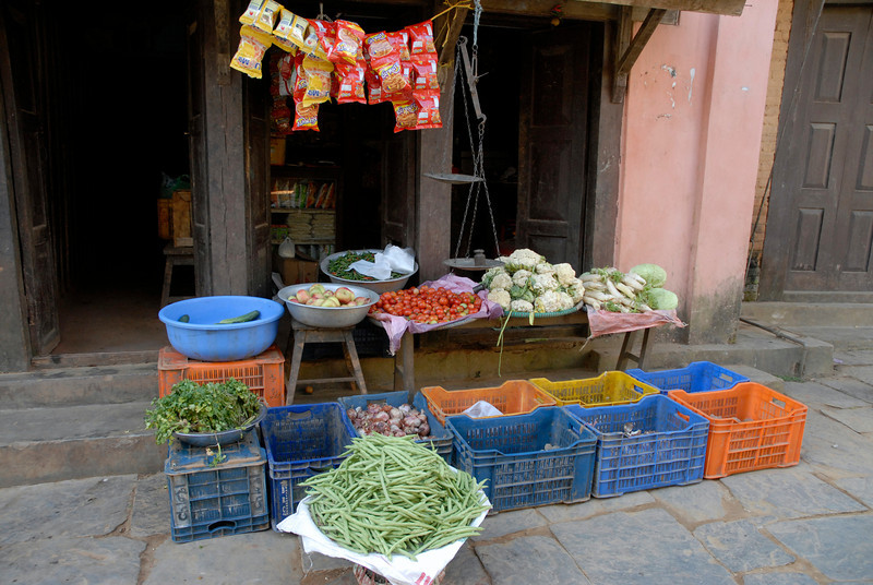 Many of the fresh vegetables found in the bazar are grown in the valley and carried up.
