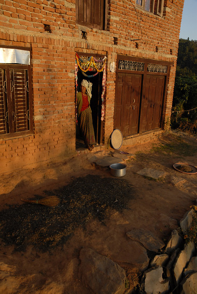 The front yard of the Krishna's neighbor. Grain is spread out to dry, the doorway decorated for Tihar.