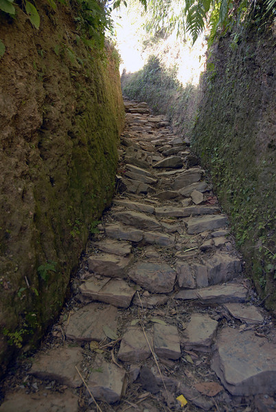 This walkway had high walls all the way to the main village.
