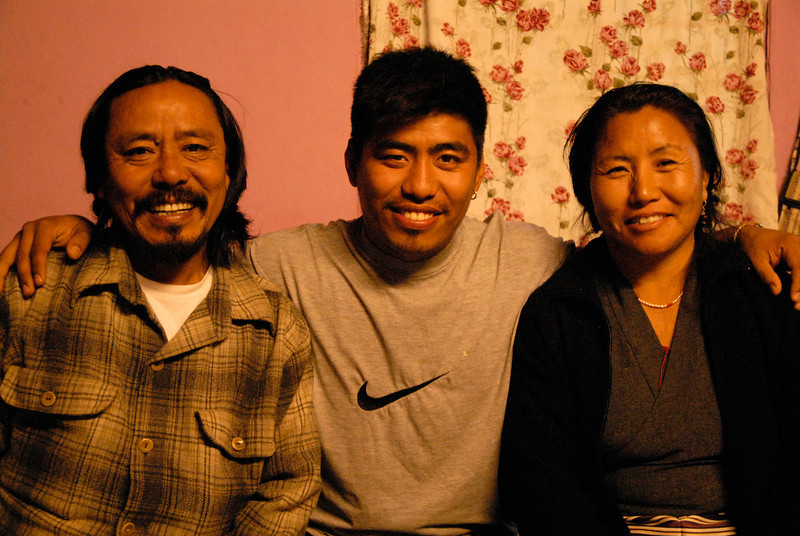 Kunga, his son Tenzin and wife Yanchen.