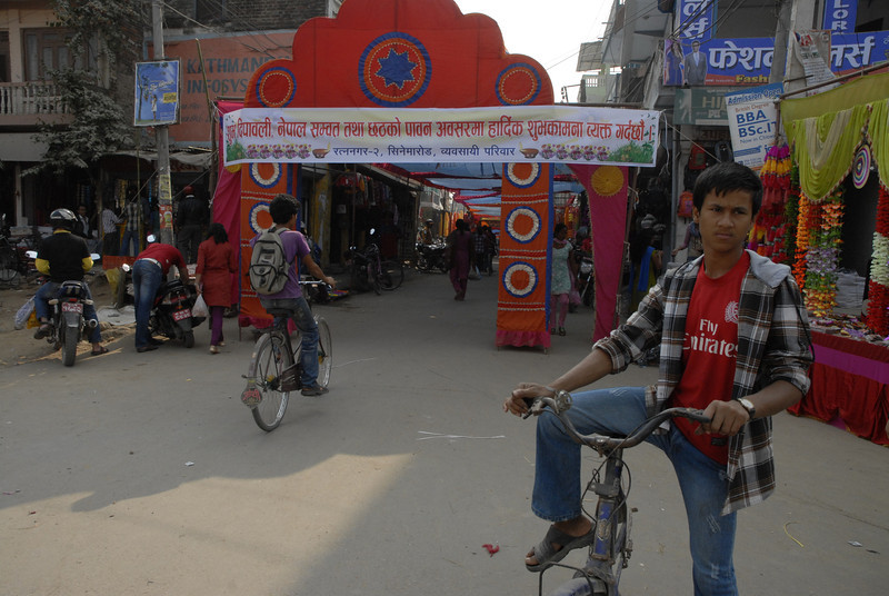 This and the next six photos are of street scenes during the Tihar festivities, mostly street vendors.