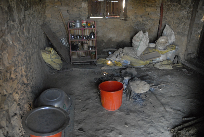 The kitchen where the one meal is prepared for the children.