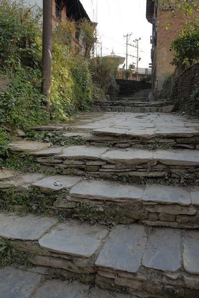 One of the stairways to the Bandipur Bazar.