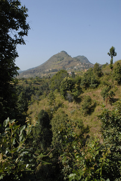 This is a view looking towards Bandipur which sits at the base of these two mountians and is itself at the top of one.