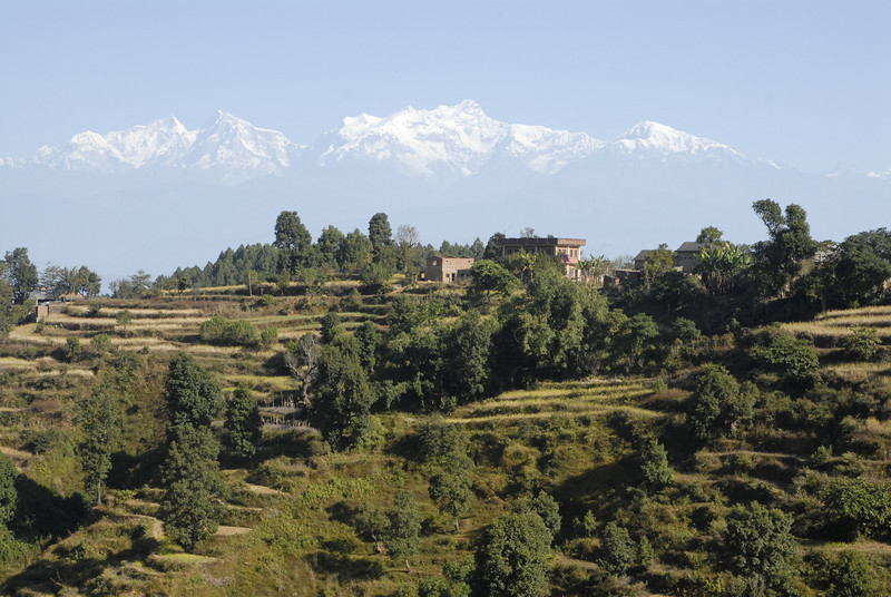 As seen from Bandipur, the Himalayas floating in the sky.