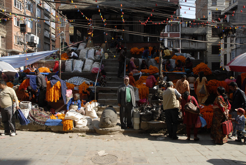 It was the time for the Tihar festival and there were many flower vendors.