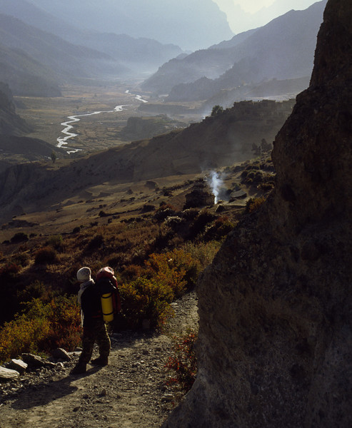 911010, day 9. Manang-Thorung Phedi<br /> Chilly mornings demands cap and scarf.