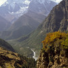 View from Ngawal, 3650 m, towards Annapurna. In the distance Marsyangdi river.