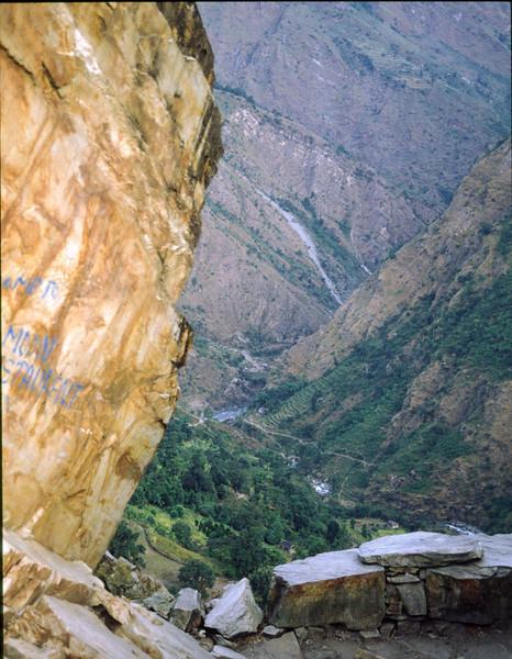 On the way up to Ghorepani. In the far distance Kali gandaki can be seen.