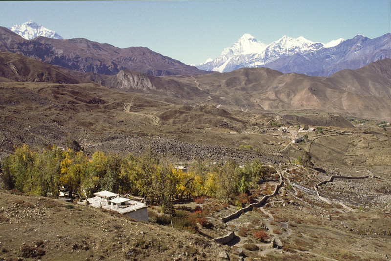 Approaching Muktinath. First view of north face of Dhaulagiri, 8167 m.