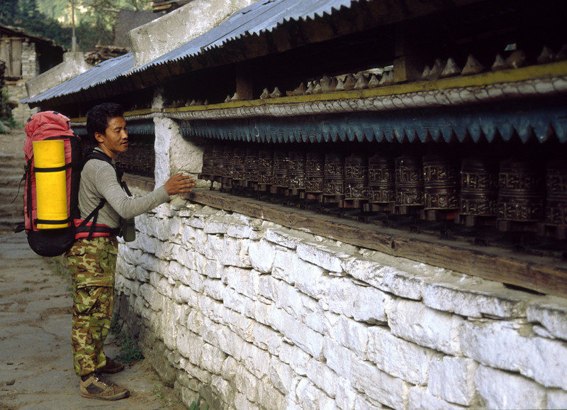 Prayer wheels at Bagarchap, 2100 m.