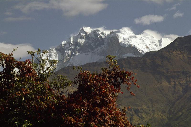 911015, day 15. Rest day at Ghorepani. <br /> Sunrise over Annapurna I, 8097 m.