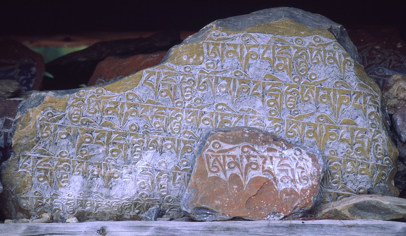 Tibetan letters. Probably Om mani padme hum.
