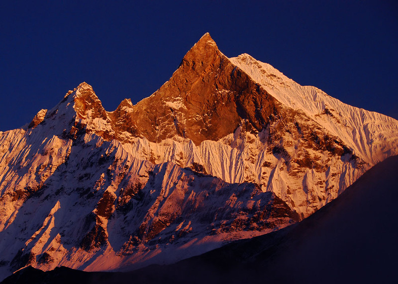 Alpenglow at sunset on Machhapuchhre, seen from South Annapurna Base Camp.  Mountain scenery doesn't get much better than this.