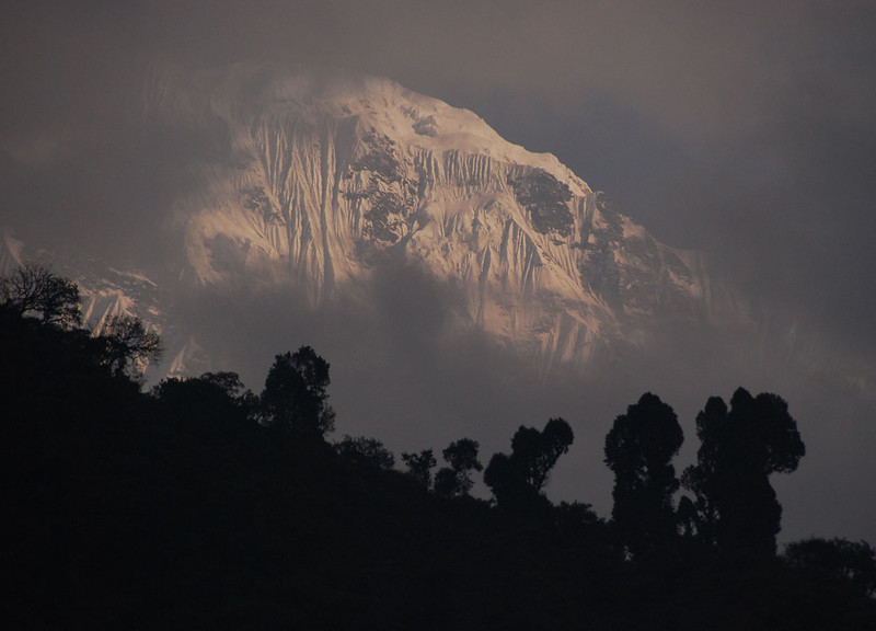Evening view of Annapurna South from the lodge at Jhinu Danda.