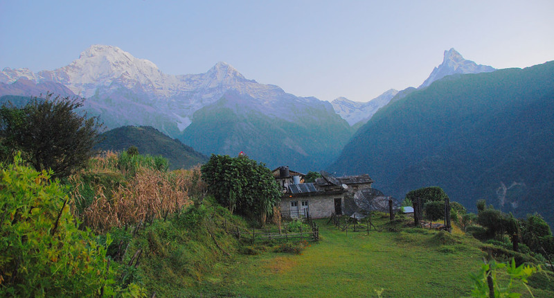 It was usually clear in the mornings with a few clouds in the afternoon.  This is the pre-dawn view from the lodge in Ghandruk.  The peaks are (left to right) Annapurna South, Hiunchuli, Gangapurna, Annapurna III, and Machhapuchhre.