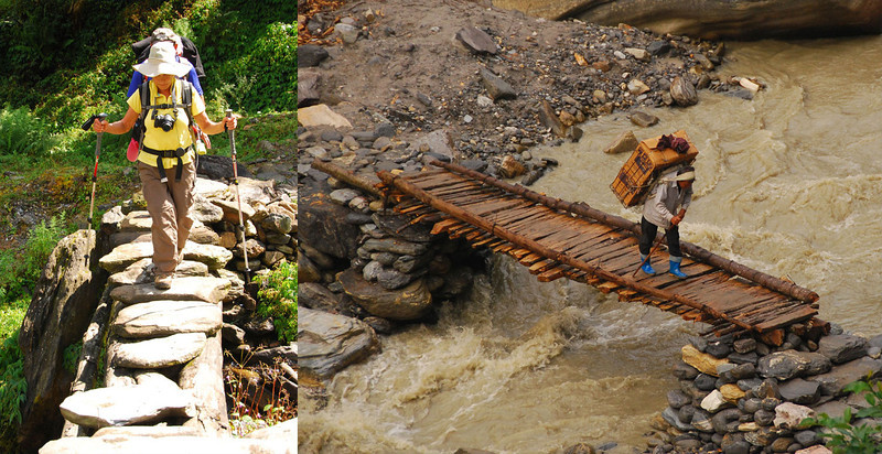Bridges across small streams are less impressive:  just a couple of logs with boards or rocks to walk on.