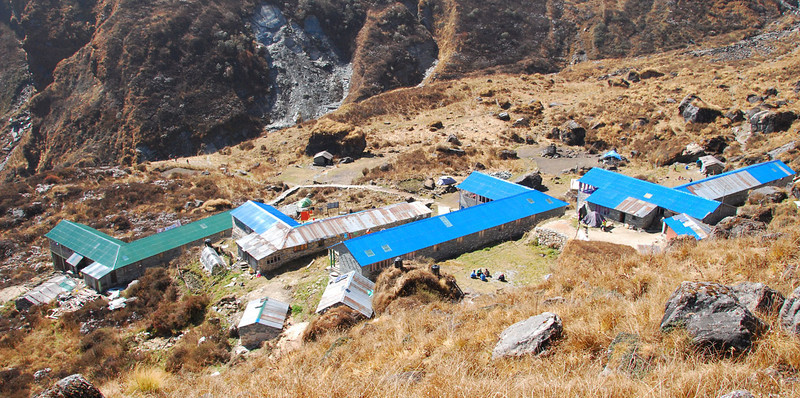 The lodges at South Annapurna Base Camp, elevation 13,600 feet.  They have solar power that charges batteries, and electric lights are turned on from 6 to 9 PM.  They also use large (6 foot diameter) solar collectors for some cooking.