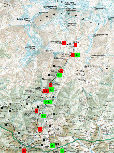 This map of the Annapurna Sanctuary shows our route.  The red numbers show where we stayed on the way up; the green on the way down.  The total trek was 16 days and covered maybe 80 miles.