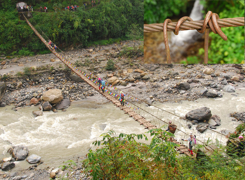 Some bridges, like this one across the Modi Khola near Himalpani, are marvels of engineering.  Although the construction is simply rebar wrapped around the support cables, and a few boards across the lower two cables to walk on, they seldom fall down.