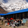 The lodges at South Annapurna Base Camp have a breathtaking view of the south face of Annapurna I, which is 4 to 5 miles away and 13,000 feet higher.  Temperatures here were pleasant during the day and down to about 20-25 degrees F at night.