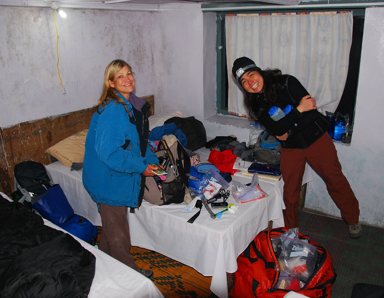 The lodge bedrooms are spartan:  2 to 4 beds on which you place your own sleeping bag, a dim light, and maybe a bit of carpet on the stone floor.  They are never heated.