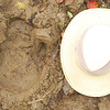 We came across fresh rhino tracks on one of our nature walks.   My hat is 15 inches front to back.