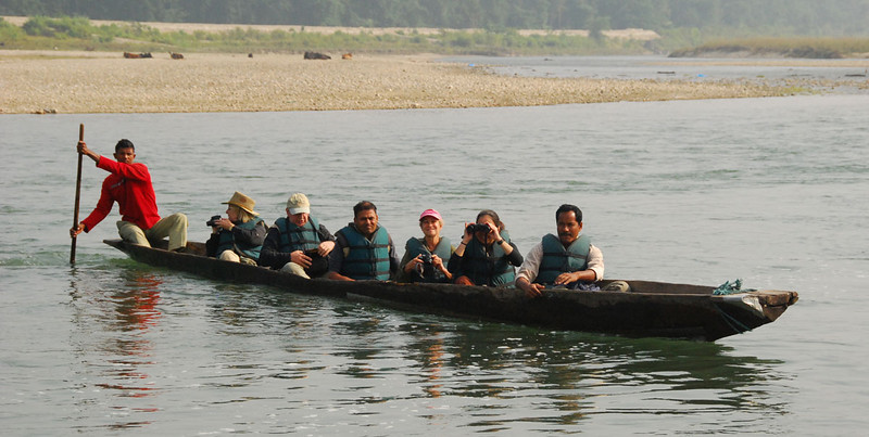 One morning we went down the Rapti River in dugout canoes to look for birds and crocs.  The canoes really were hand hewn from a single log.