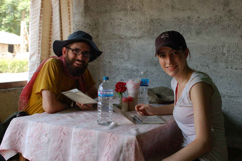 Megan and Yann waiting for lunch to arrive in Sauraha