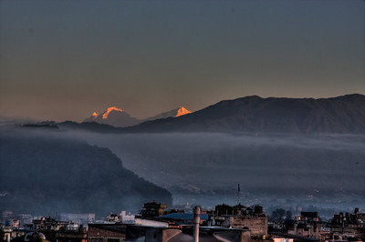 Sunrise in Kathmandu, from the rooftop of the Tibet Guest House.