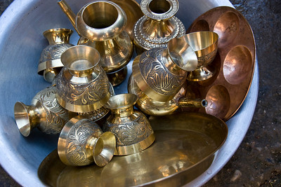Brass utensils in a restaurant kitchen, Dhankuta.