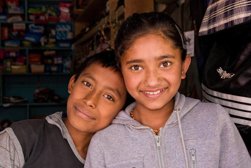 Bwong: kids in a Dhankuta shop.